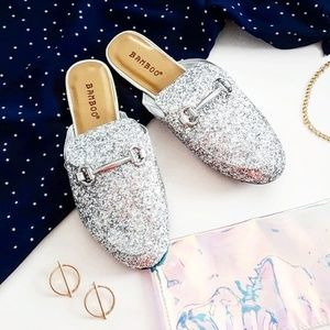 Silver glitter mule slides size 7.5 New